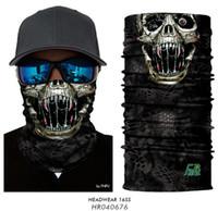 máscaras de crânio 3d venda por atacado-2019 Skull Face Halloween 3D Máscara Headband Headwear Outdoor Sports Ciclismo Magia lenço da garganta Tubo