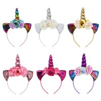 aros florais venda por atacado-Chifre de unicórnio mágico Floral Headband Moda Lantejoulas Da Orelha Kid Party Acessórios de Cabelo Menina Glitter Flor Hoop Cabelo TTA1247