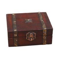 Wholesale wooden case locks resale online - Stylish Vintage Metal Lock Decorative Trinket Jewelry Storage Box Handmade Classical Wooden Treasure Case storage box