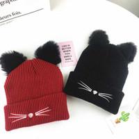 beanies da orelha do gato venda por atacado-Orelhas 5 cores bonito do gato Mulheres chapéu de malha Chapéus de inverno quente Beanie Caps Festival Wool Hat Party presentes favor ZZA1705