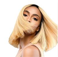chino pelucas de cabello virgen al por mayor-Ombre Bob peluca chino virginal del pelo dos tonos 1b / 613 cortocircuito Bob corte pelucas del frente del cordón recto Bob pelucas para mujeres negras