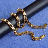 collar de cadena de oro 18kgp al por mayor-Hombres Mujeres 20 INCHS Cadena Collares Colar de Ouro la caja cuadrada de oro de la cadena Declaración de color 18kgp collar de joyería de moda de 4 mm