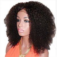 ingrosso parrucca ricci brasiliana afro kinky-Parrucca anteriore in pizzo riccio afro crespo 130% densità pre pizzicata con capelli umani brasiliani per le donne di bellezza
