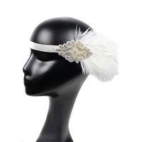 diadema de guirnalda de flores blancas al por mayor-Celada y Negro de la pluma blanca del partido de la aleta del tocado de la venda floral de la flor de la guirnalda niñas Cinta de cabeza # 20