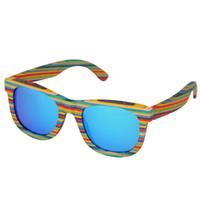 marcos de gafas de color de los hombres al por mayor-Retro hecho a mano de color gafas de sol con montura de madera de las mujeres polarizadas hombres gafas de sol multicolor Playa anteojos UV para conducir
