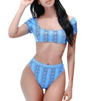 ingrosso imbottito spingere in su il reggiseno del bandeau-KLV bikini 2019 bandeau Donna Snake Print Blu Costume da bagno bikini 2019 estate Push-up Reggiseno imbottito Costume da bagno Costume da bagno # 4