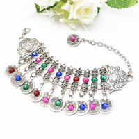 pulseras tribales indias al por mayor-Bohemia Gypsy Colorful Rhinestone Flower Tobillera Moneda Danza del vientre Pulsera Brazalete Brazo India Turquía Etnia Tribal Beach Jewelry