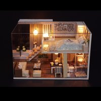 Wholesale handmade toy wood house for sale - DIY Handmade Wooden Dollhouse Miniature With Cover Light Furniture Toys LED D Doll House For Children Kids Gifts Assemble