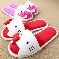 привет котенок мужчины оптовых-Soft Plush Bow Hello Kitty Pink Slippers Women Men Shoes Indoor Girl Loafers Cartoon Pantuflas Pantofole Donna Chinelo Masculino