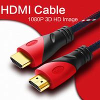 cable hdmi negro rojo al por mayor-Negro + rojo Cable HDMI de alta velocidad Conexión chapado en oro con malla roja 1080P 3M 10 pies 5M 16FT