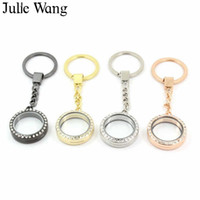 Wholesale resin lockets for sale - Group buy Julie Wang Alloy Glass Locket Magnetic Buckle Round Rhinestone Keyring Keychain Key Chains Handmade Jewelry Making Accessory