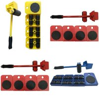 Wholesale tool set instrument resale online - Heavy Carry Wheel Tool Mental Crowbar Mover Transport Set Yellow Red Blue Creative Practical Instrument Hot Sale ccD1