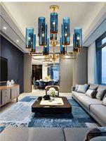 lámpara de comedor azul al por mayor-Araña de cristal de lujo moderno que enciende 6-15 cabezas azul / Cognac nordic hang lamp living comedor dormitorio lámpara de interior