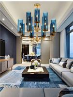 açık mavi cam avize toptan satış-Modern lüks cam avize aydınlatma 6-15 kafaları mavi / Konyak nordic lamba oturma yemek odası yatak odası kapalı ışık fikstür asmak