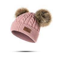 animales de ganchillo gratis al por mayor-Gorros Sombrero de bebé Pompon Sombrero de invierno para niños Gorro de punto lindo para niñas Niños Casual Sombrero de niñas de color sólido Gorros de bebé
