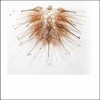 led personalizado venda por atacado-Amber Blown Glass Chandelier Lightings Lâmpadas LED personalizado Murano Glass Small Cheap Chandeliers