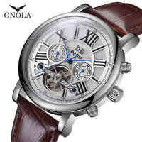 Wholesale wrist watches for men for sale - Group buy ONOLA Brand High quality mechanical watch men fashion casual classy wrist watch leather belt automatic mechanical watch for men