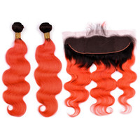 Wholesale 2tone hair weaves for sale - Group buy B Orange Ombre Indian Human Hair Bundles with Frontal Body Wave Ombre Orange Human Hair Weaves Tone Hair Wefts with x4 Lace Frontal