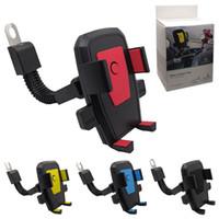 espejo multifuncional al por mayor-Soporte para teléfono de la motocicleta 360 grados de rotación de coche eléctrico espejo retrovisor soporte del teléfono celular multifuncional para iPhone Samsung Smartphones