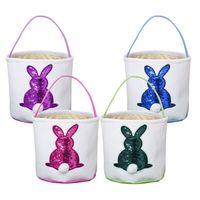 çocuklar şeker poşetleri toptan satış-Sequins Paskalya Basket 4 Renkler Easter Kepçe Sevimli Tavşan Şeker Çanta Tuval Paskalya Çocuk Çanta Parti Dekorasyon 30pcs OOA7499