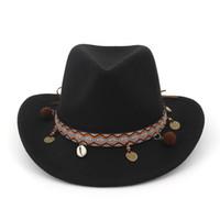breiter rand rollen hut großhandel-Ethnische Quaste Retro Wolle Hüte Frauen Männer Hohl Western Cowboy Hut Roll-up Breiter Krempe Cowgirl Jazz Sombrero Cap