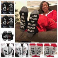 meias longas de natal venda por atacado-Chrisrtmas Hallmark Filmes Meias Leave Me Alone letras engraçadas Socks Meias do Natal Inverno Quente Macio longa de algodão meias para crianças Adultos