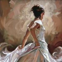ingrosso pitture a olio di qualità donne-Breeze Dipinti ad olio dipinta a mano moderna donna su tela di alta qualità