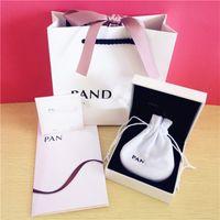 garanti belgesi toptan satış-Pandora mücevher kutusu 5 parça set Pandora takı ile bilezik hediye kutusu çanta garanti kartı fatura tote çanta mücevher kutusu