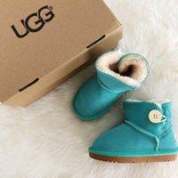 çocuklar diz botları toptan satış-Ug Düğme Kış Kar Boots Moda Avustralya çocuklar Klasik Kısa yay çizme Bilek Diz Bow kız MİNİ Bailey Boot ücretsiz gemi