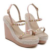 ingrosso sandali intrecciati bianchi-2012 Chic Summer Beige Colore Straw Woven Wedge Sandal Platform Heels Pink White Black Beige 2019 Size 35 To 40