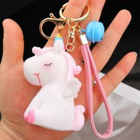 Wholesale trinket toys for sale - Group buy Cartoon Soft PVC Unicorn Keychain Rubber Anime Cute Animal Horse Key Chain Key Ring Kids Toy Pendant Holder Trinket Gift