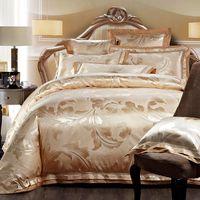 Wholesale jacquard silk bedding set gold resale online - 4 Gold Jacquard Satin bedding set king queen Luxury Tribute Silk quilt duvet cover bed linen bedclothes set home textile T200706