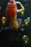 ingrosso graziosi dipinti d'arte-Immagine di arte della parete Victor Nizovtsev Pittura a olio Fantasia Mermaid Art Riproduzione Stampata Su Tela Moderna Soggiorno camera Da Letto Home Decor NV39