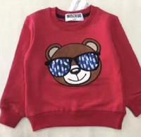bordado de algodão de meninos venda por atacado-1-6 ano Meninos Meninas bebê Algodão pullover jumper Bordado Óculos de urso crianças mangas compridas roupas de Esportes de Lã roupas de Marca