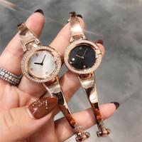 ingrosso le donne di lusso guardano la perla della signora-orologio dal design di lusso per la donna 27 millimetri diamante ghiacciato fuori orologio in oro rosa braccialetto di perle faccia fascino quarzo lady Movimento Orologi da polso