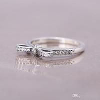 anéis de diamantes reais 18k venda por atacado-NEW Real 925 Sterling Silver arco ANEL para Pandora 18 K Rose Gold CZ Diamante Anel de Casamento Bowknot para As Mulheres da Jóia do Presente