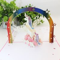 Wholesale birthday cards resale online - 3D Greeting Card Origami Child Birthday Unicorn Congratulation Cards Creative Exquisite Blessing New Pattern Popular Sell Well hp J1