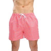 traje de baño de los hombres a cuadros al por mayor-Trajes de baño Pantalones cortos de natación Pantalones cortos de secado rápido Pantalones cortos de baño Pantalones cortos de playa de tela escocesa de color sólido para hombres # G66