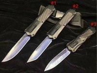 melhor canivete tático venda por atacado-Novo Design A163 Auto faca Tático 440C Laser Padrão Lâmina de Caça EDC Faca de Bolso de Sobrevivência Engrenagem de Bolso Melhor presente