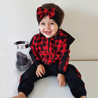 Wholesale plaid pants for kids for sale - Group buy Plaid Winter Clothes For Girls Zip Hooded Sweatshirt Pants Autmn Girls Outfits With Bow Hairband Kid T Boutique Outfits