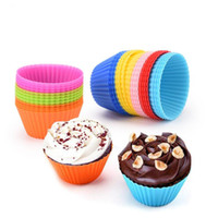 Wholesale tart for sale - Group buy Silicone Muffin Cake Cupcake Cup Cake Mould Round Tart Mould Case Bakeware Maker Mold for Children Tray Baking Jumbo YP797