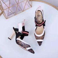 römische sandaletten großhandel-Frauen casual 2019 neue trend mode leder farbe passenden high heel schuhe spitzen gitter bankett frauen stiletto römischen stil sandalen