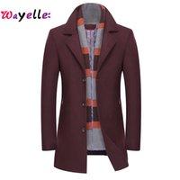 Wholesale smart scarf resale online - 2019 Winter Men Smart Casual Fit Long Thicken Slim Overcoat Jacket Woolen Detachable Scarf Trench Coat Male Brand Jackets