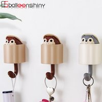 Wholesale squirrel bag resale online - BalleenShiny ABS Creative Squirrel Hat Clothes Storage Hook Lovely Wall Adhesive Bags Umbrella Hanger Gadgets Decor Holder Rack