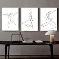 çiftler için duvar sanatı toptan satış-3 adet / takım İskandinav Minimalistik Çizgi Duvar Sanatı Tuval Baskı, Siyah Beyaz Soyut Çift Dansçılar Duvar Posteri oturma odası için ev dekor