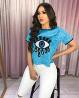 mavi payet tops toptan satış-Yaz Sequins T Shirt Kadın Kısa Kollu Gömlek Kadın O-Boyun Mavi Altın Üst Tee Boyutu S-XL