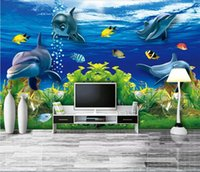 ingrosso carta da parati subacquea delfino-3d wallpaper wallpaper camera personalizzata murale Underwater World 3D Dolphin TV sfondo muro wallpaper per pareti 3 d wallpaper anime per pareti