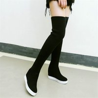 Wholesale black suede wedge long boots for sale - Group buy NAYIDUYUN Thigh High Boots Women Black Wedges Faux Suede Over The Knee High Riding Booties Knitting Stretch Long Sneaker Pumps