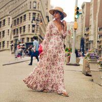 resort kleider für frauen großhandel-Böhmisches Resort Maxikleid Blumendruck weibliche Frauenkleidungskleid bedruckte Baumwolldamen langes Kleid