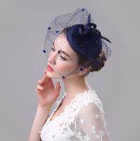 fascinator azul sombreros al por mayor-Elegante mini sombrero superior de lino de la vendimia tapa de malla grande boda velo fascinador pinza de pelo disfraz máscara regalo negro beige gris azul